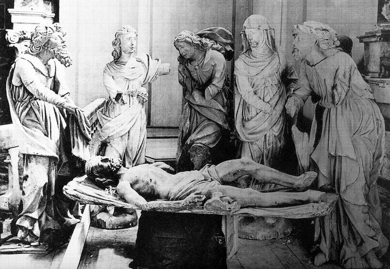 Groupe sculpté (figure grandeur naturelle) : la Mise au tombeau