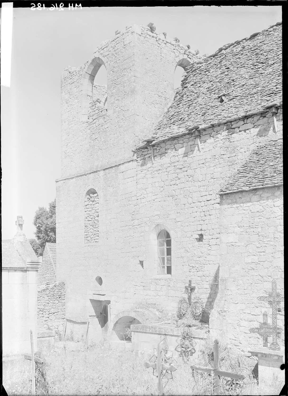 Façade sud côté cimetière, partie ouest