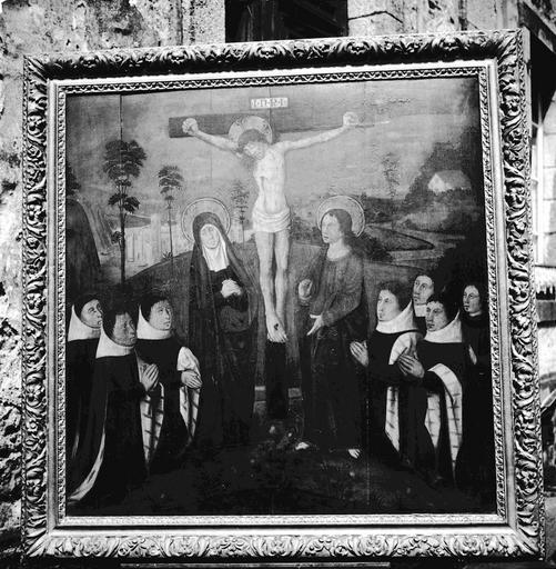Tableau : Christ en croix entre la Vierge et saint Jean accompagnés de sept donateurs agenouillés (le)