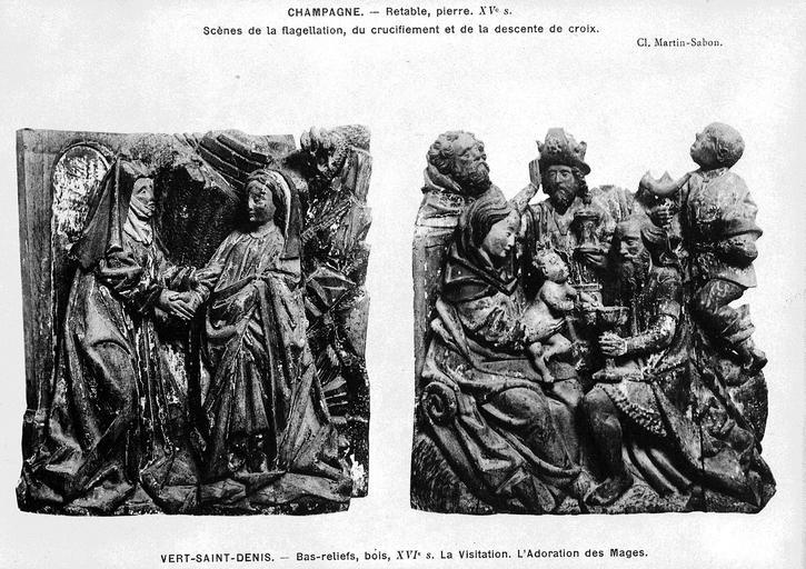 2 bas-reliefs : L' Adoration des mages, La Visitation