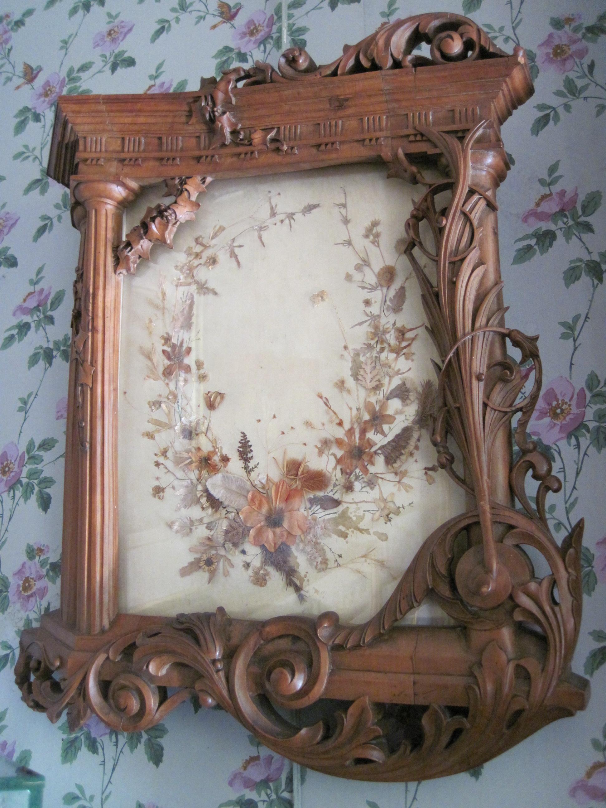Tableau : tableau-encadré-sous verre : fleurs séchées