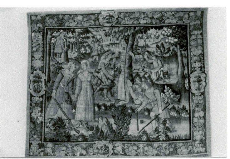 Pièce murale (tapisserie) : Gombault et Macée, Le jeu de tiquet (2e pièce), suite de cinq tapisseries