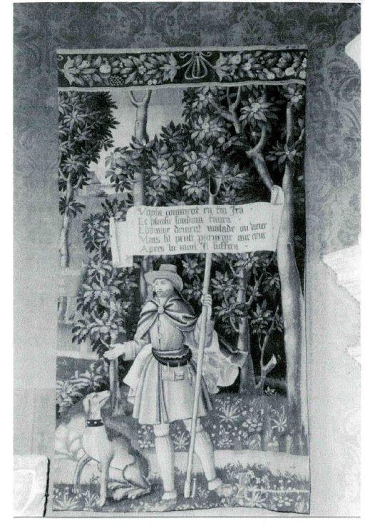 Pièce murale (tapisserie) : Gombault et Macée, la vieillesse, fragment (7e pièce), suite de trois tapisseries