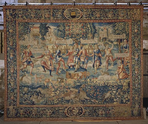 Pièce murale (tapisserie) : Gombault et Macée, La danse (3e pièce)