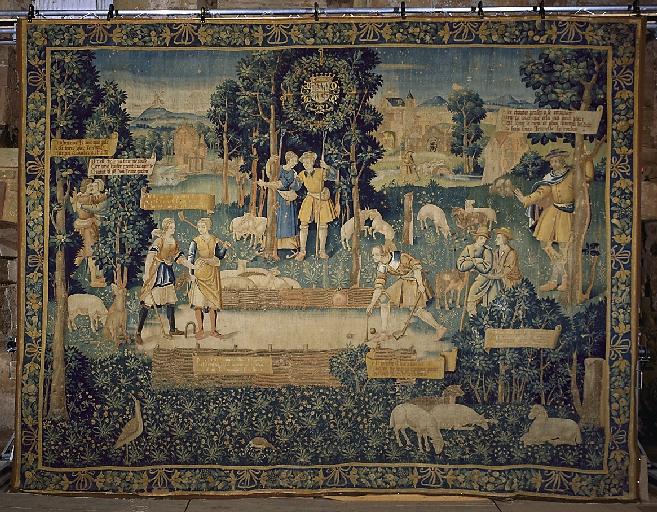 Pièce murale (tapisserie) : Gombault et Macée, Le jeu de tiquet (2e pièce), suite de trois tapisseries