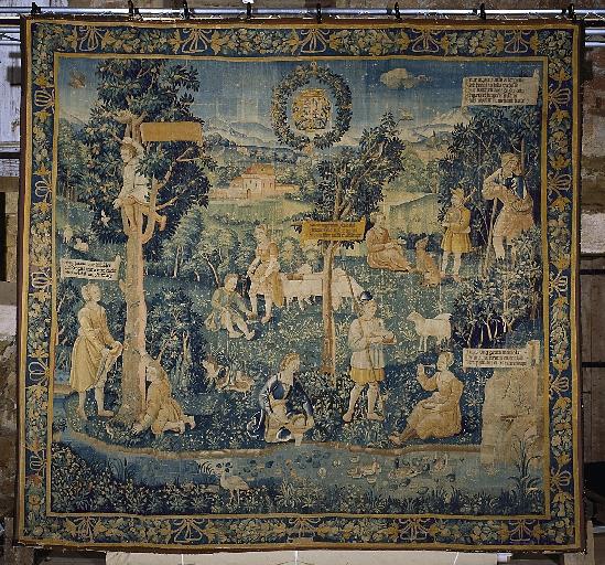 Pièce murale (tapisserie) : Gombault et Macée, La chasse aux papillons (1e pièce), suite de trois tapisseries
