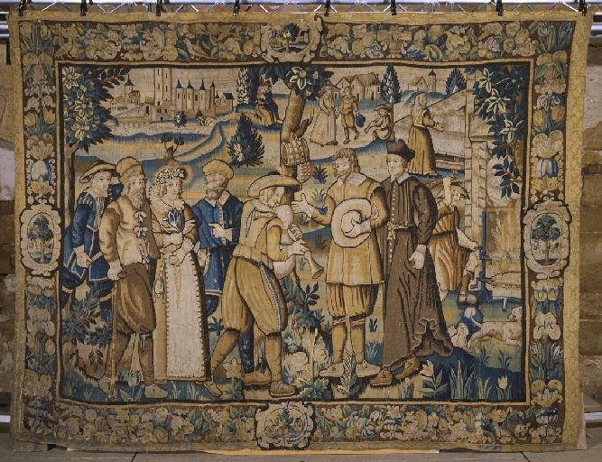 Pièce murale (tapisserie) : Gombaut et Macée, Le cortège nuptial (6e pièce), suite de cinq tapisseries