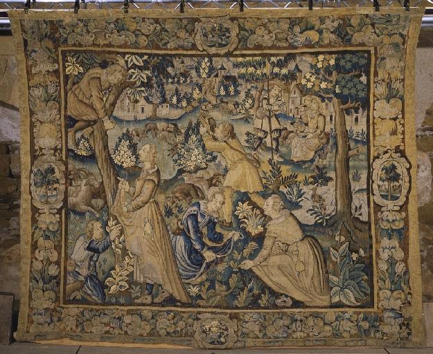 Pièce murale (tapisserie) : Gombault et Macée, la cueillette (4e pièce), suite de cinq tapisseries