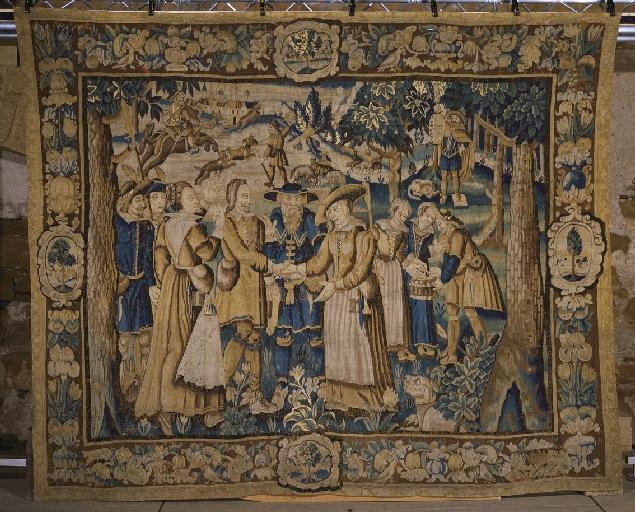 Pièce murale (tapisserie) : Gombault et Macée, Les accordailles (5e pièce), suite de cinq tapisseries