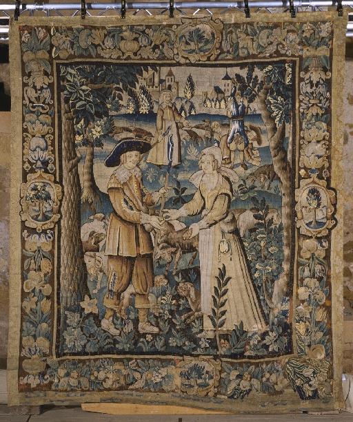 Pièce murale (tapisserie) : Gombault et Macée, les fiançailles, suite de cinq tapisseries