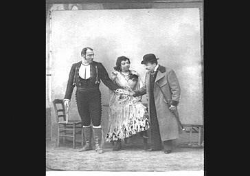 M. Lamy, M. Huguenet et Mme Simon Girard, dans 'L'Enlèvement de La Toledad'
