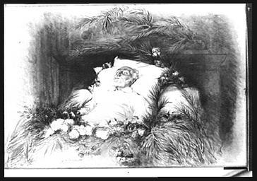 Peinture de Georges Clairin représentant Victor Hugo sur son lit de  mort.
