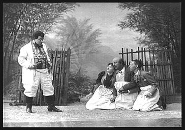 MM. Guyon, Bartel, Mesmacker et Madeleine Guitry, dans 'La plantation Thomassin'
