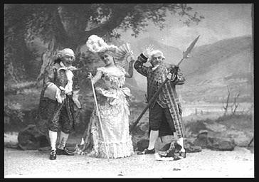 Mlle Same et Lucien Fugère, Baryton et Vauthier, dans 'La Fée aux chèvres'