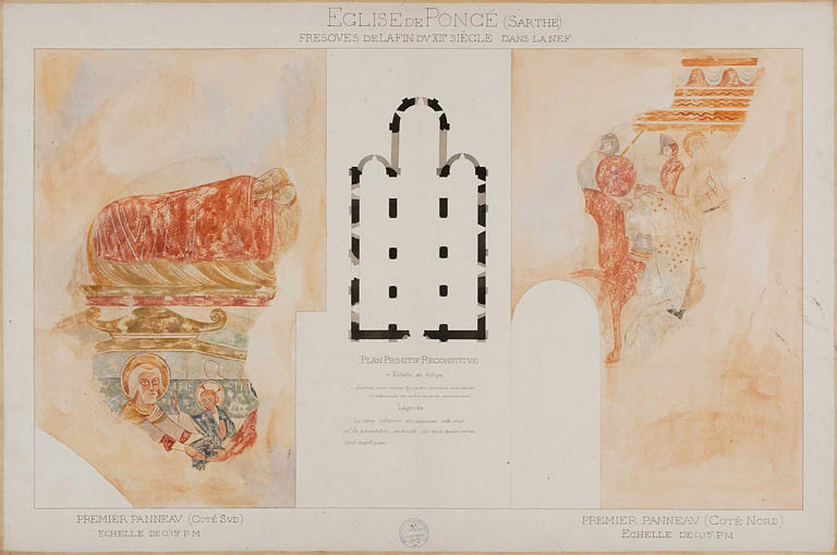 Détail de la présentation au Temple, de deux autres scènes, plan au sol de l'église