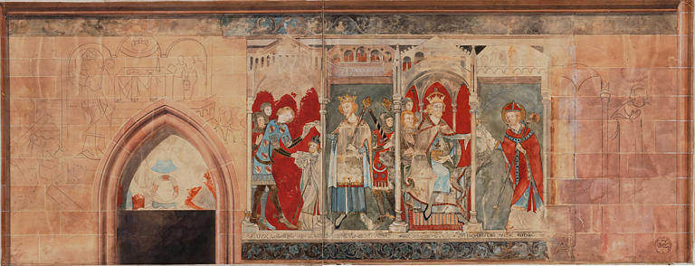 Peintures monumentales : le Duc de Lorraine Simon II et le grand Prévôt Maheu, l'Empereur Henri VI et saint Dié