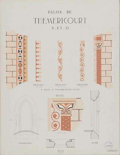 Détail du décor des ébrasements et encadrements de fenêtres, de colonnes et chapiteaux peints