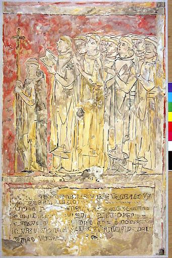 Peintures monumentales : Le Couronnement de la Vierge, La Mort de Thibaud de Vassalieu, assisté de deux évêques, Le Crucifiement, Groupe de Chartreux