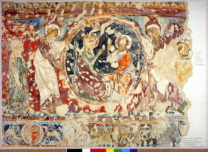 Décor peint de la chapelle de la Vierge : le Couronnement de la Vierge, vie du Christ