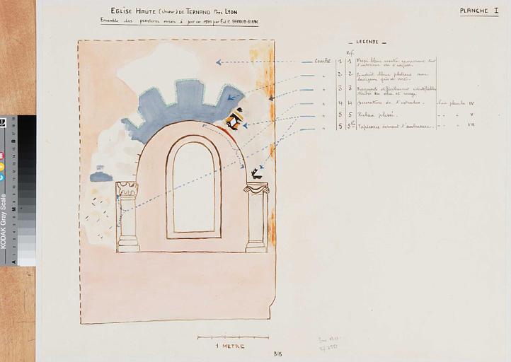 Schéma de situation des peintures murales mises à jour en 1954