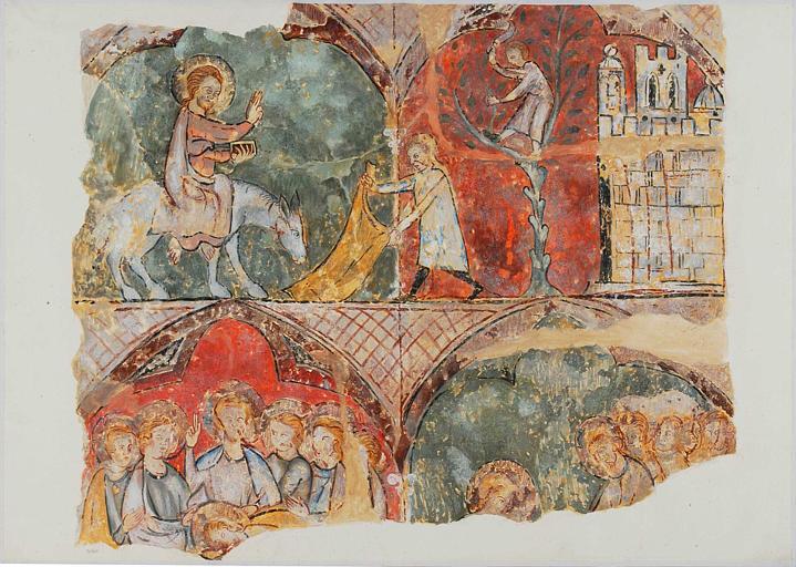 Scènes de la Passion, l'entrée à Jérusalem, la cène, le lavement des pieds