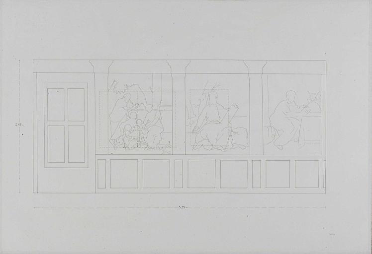 La sainte famille, saint Marc et saint Matthieu, croquis