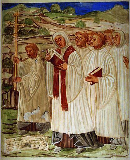 La légende de saint Antoine, les clercs viennent à la rencontre du corps du saint