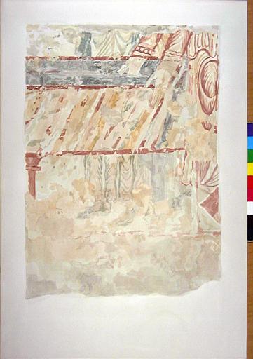 Un support de colonnette à chapiteau, les mains, le corps et les pieds des moines, situés à droite du sarcophage, partie inférieure droite