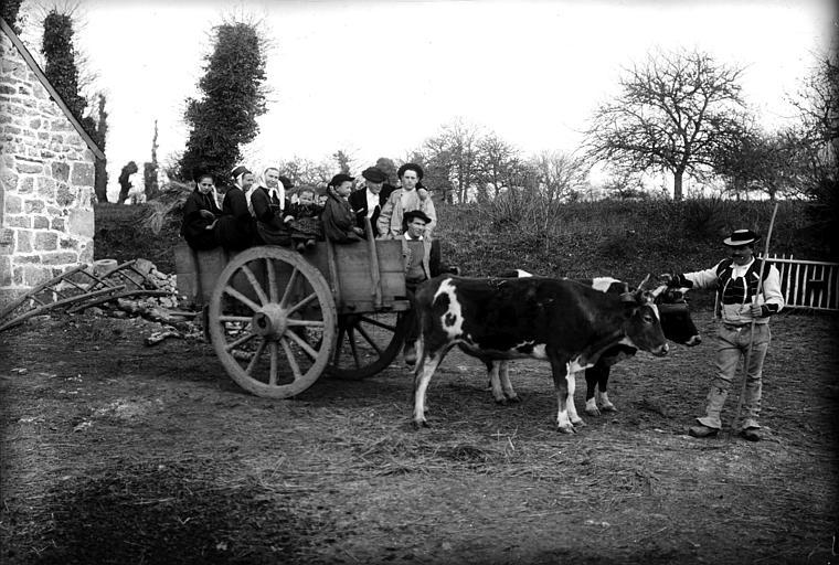 Famille en costume traditionnel montée sur un char tiré par deux boeufs et son conducteur