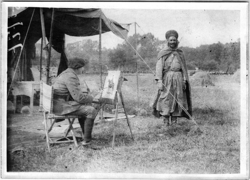 Le peintre Scott faisant un portrait de Spahi, tente et chevalet