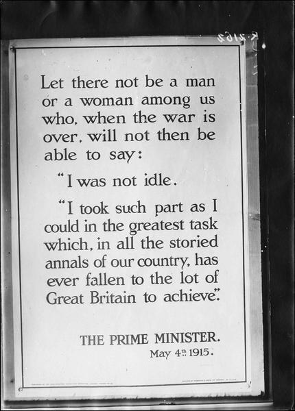 Affiche anglaise, discours du Premier ministre le 4 mai 1915
