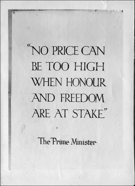 Affiche anglaise, texte du Premier ministre