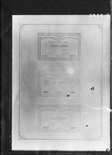 Papier-monnaie de la Chambre de Commerce de Boulogne-sur-Mer