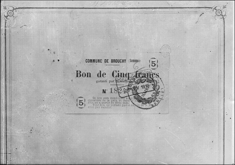 Papier-monnaie de la commune de Brouchy (Somme)