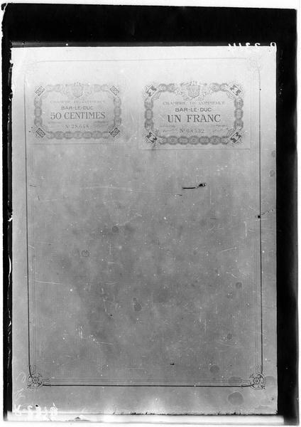 Papier-monnaie de la Chambre de Commerce de Bar-le-Duc