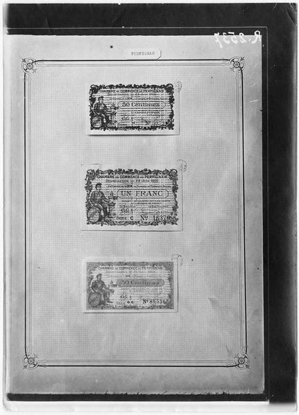 Papier-monnaie de la Chambre de Commerce de la ville de Perpignan, Pyrénées-Orientales