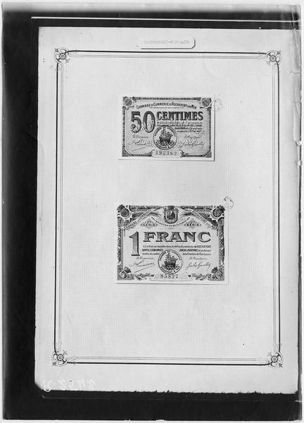 Papier-monnaie de la Chambre de Commerce de la ville de Rochefort-sur-Mer