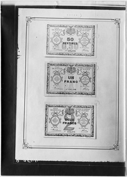 Bons de monnaie de la Chambre de Commerce de la ville de Rouen