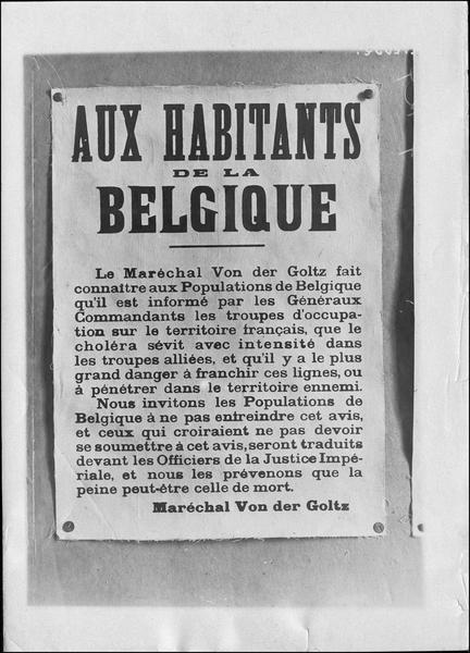 Affiche « Aux habitants de la Belgique» du Maréchal Von der Goltz