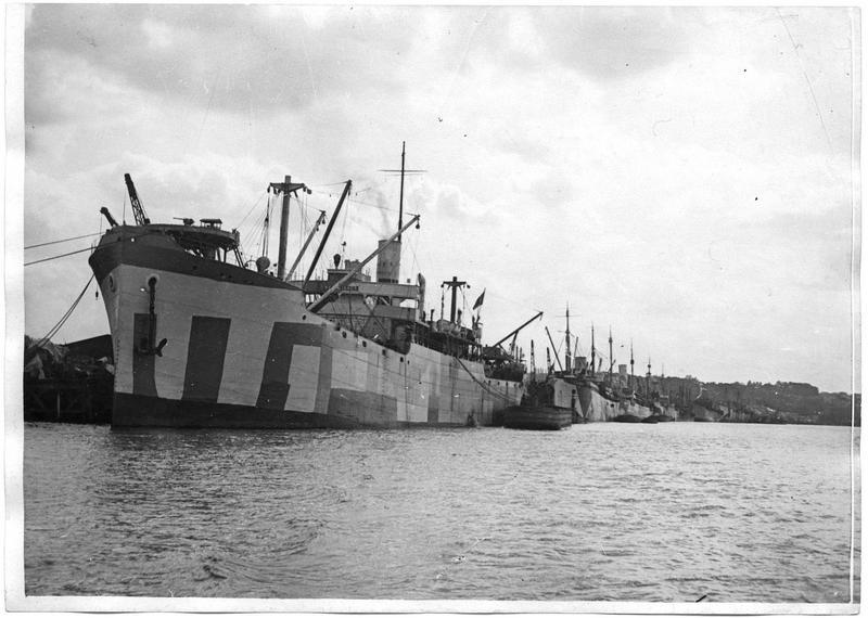 Vue générale des navires américains au mouillage