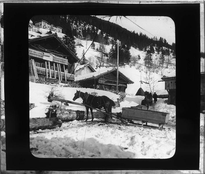 Chalets et traineau attelé à un cheval sous la neige