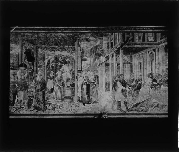 Fresque : vendanges et ivresse de Noé