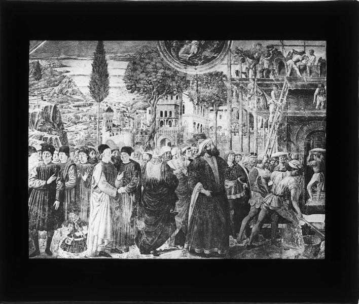 Fresque : construction de la Tour de Babel, partie gauche