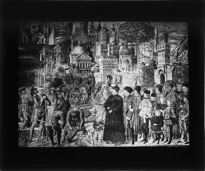 Fresque : construction de la Tour de Babel, partie droite