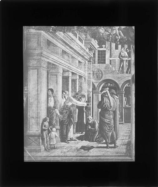 Fresque de la chapelle Ovetari : saint Jacques baptisant Hermogène (détruite le 11 mars 1944)