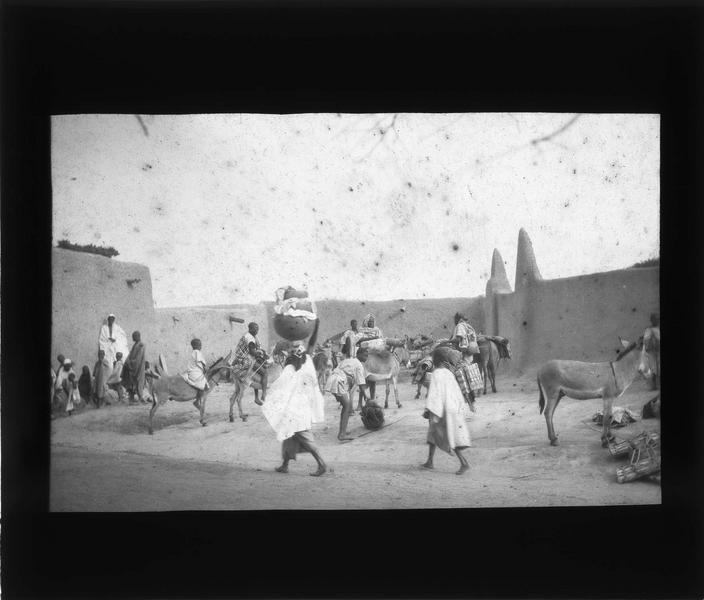 Scène de rue avec ânes