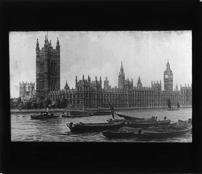 Gravure: ensemble, côté nord, et barques sur la Tamise