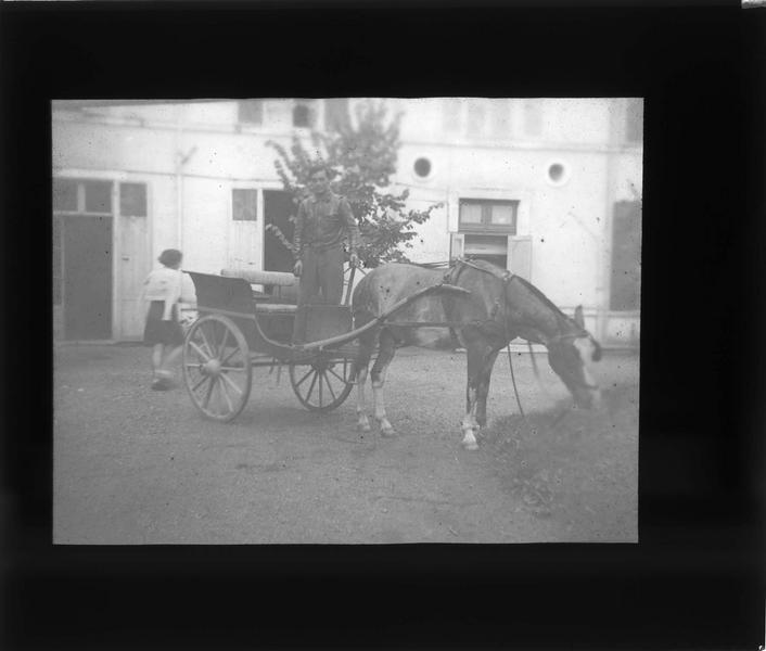 Voiture à cheval et homme