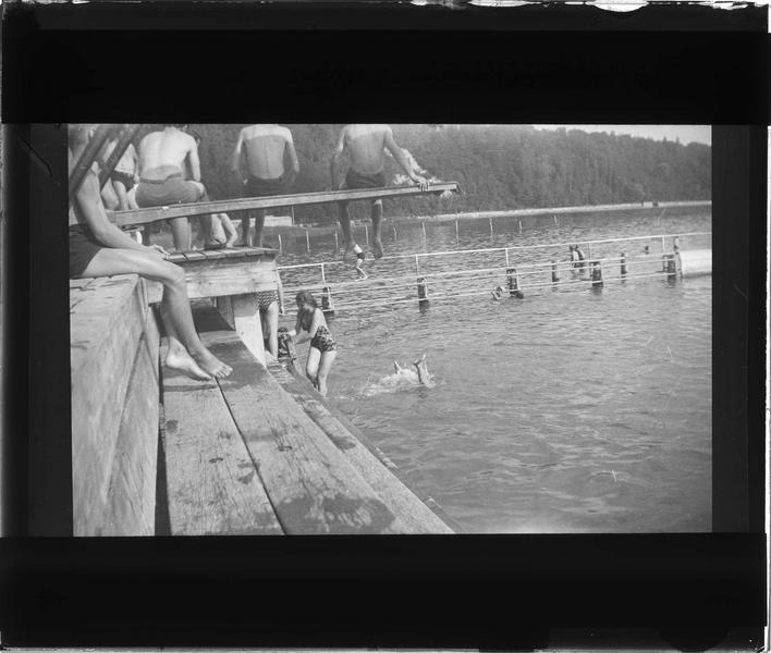 Lac du Bourget, vue animée avec baigneurs