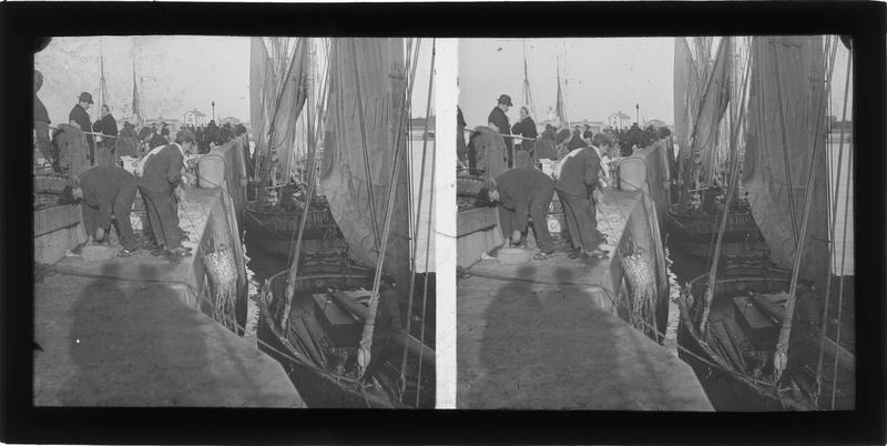 Déchargement des sardiniers sur le quai des Passagers (boulevard Charles V), vue animée
